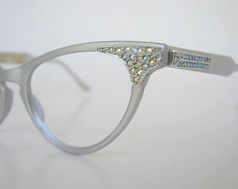 Art Craft Eyeglass Frames Vintage Gray Silver Satin Finish Aluminum AB Rhinestones Cat Eye New Old Stock (NOS) Original Labels Smaller Fit