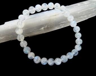 Indian Rainbow Moonstone Stretch Bracelet 6mm Smooth Round Polished Gemstone Beads