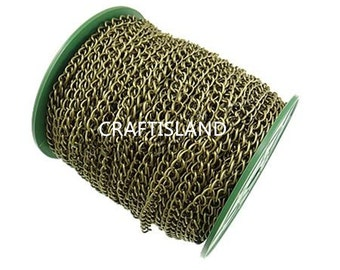 Wholesale 50 meters 6X4.5mm antique bronze finish twisted chain in roll-9855