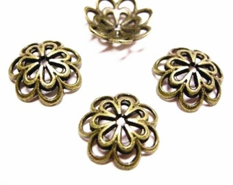 10pc antique bronze fancy 14mm metal bead cap-4072