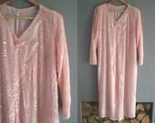 80s Silk Pink Sequin Shift Dress