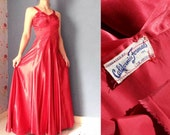 1950s Red Satin Prom Dress / Evening Gown XS