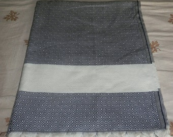 Black colour diamond patterned Turkish cotton blanket,  bed cover,  bed throw.