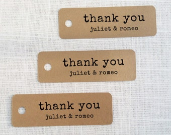 Thank You Favor Tags - Die-cut Kraft Paper Hang Tags, Custom Gift Tags - Set of 25 - wedding decoration - wedding favor tags - typewriter