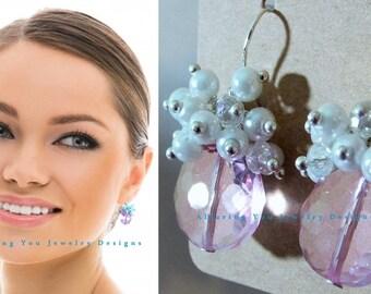 AB Clear glass earrings. AB Clear earrings. AB Crystal bridal earrings. Pink crystal dangle earrings. Bridesmaids earrings. Wedding jewelry.
