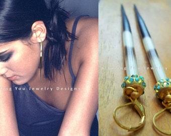 Porcupine Quill Earrings, Long Earrings, Shoulder Spike Earrings, Statement Earrings, AB Peridot Crystal Porcupine Quill Earrings