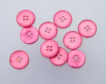 """20 Vintage 1"""" Plastic Buttons. Beautiful Pearlized Rose Pink Tone. 4 Holes. Silvery Shine. Sew Through Buttons. Item 1513P"""