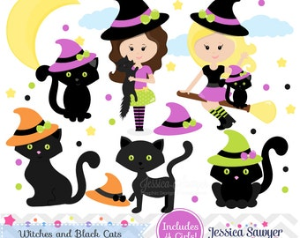 INSTANT DOWNLOAD, Witches and black cats clipart or halloween clip art and vectors for personal and commercial use