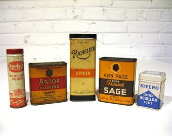 Vintage SPICE HERB BOUILLON Tins / Rustic / Early American Decor / Richelieu / Herb-Ox / Steero / Ann Page / Astor / Collector's Kitchen