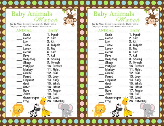 Baby Shower Baby Animals Match Game - DIY Printable - Match Mama and ...