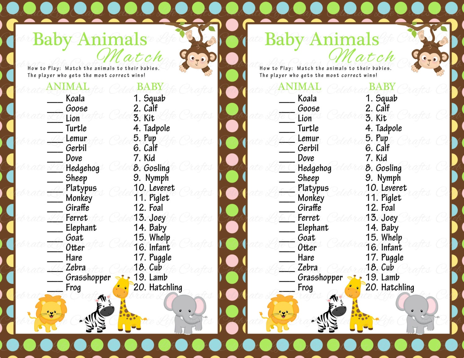 Baby Shower Game - Guess The Baby Animal Name - from ...
