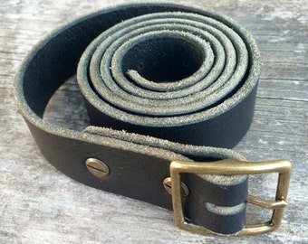 Black leather belt, 1 inch wide, Solid brass belt buckle, Womens belt, Mens belt, Handmade belt, Leather accessories, The Umpqua belt