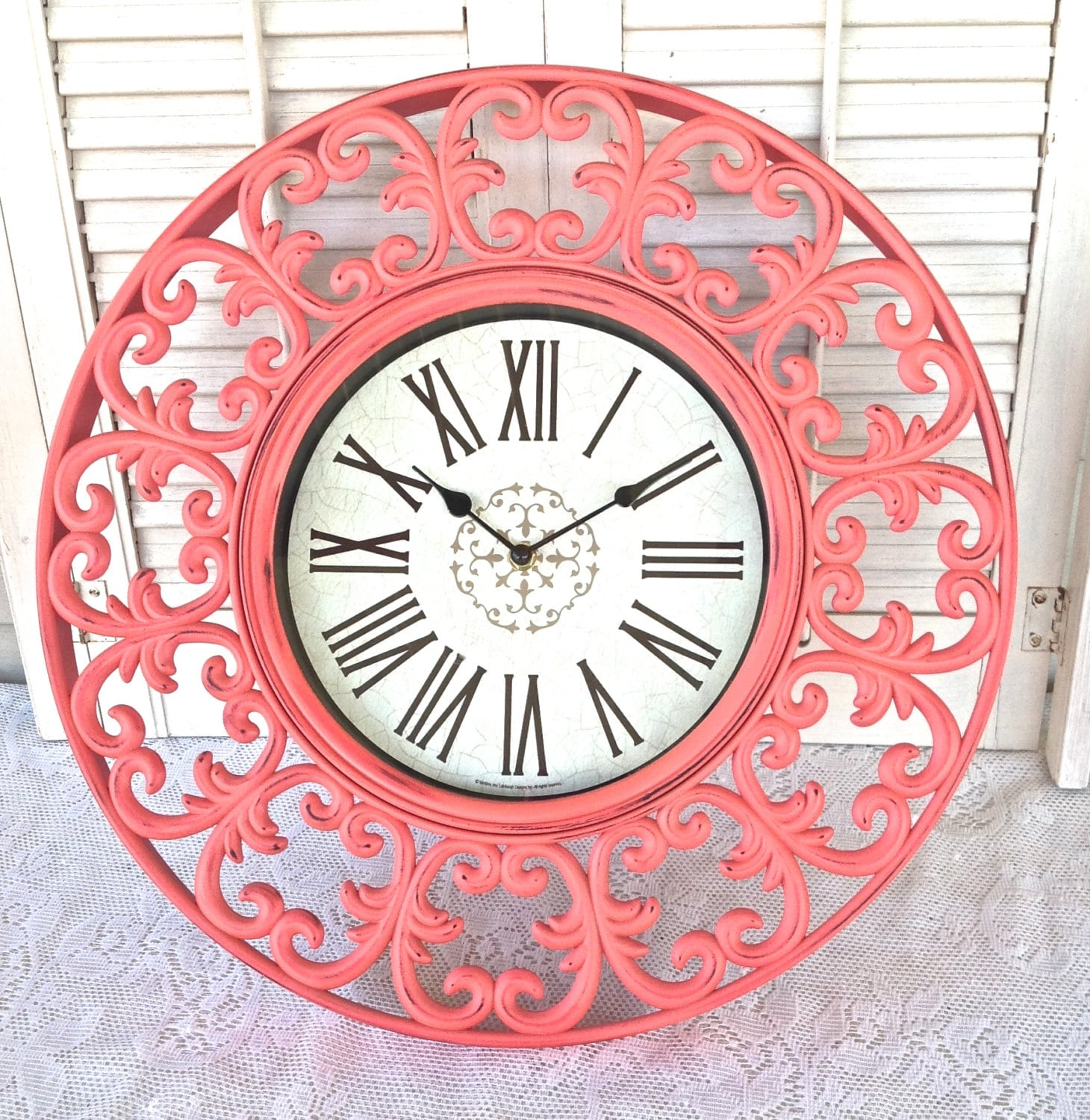 french country coral wall clock scrolled 18 cottage