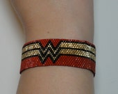 Wonder Woman NYCC Sparkling Japanese seed bead bracelet in Red, Gold and Black Comic Con SDCC