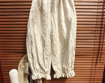 RITANOTIARA stripey European linen wide leg stripe trousers pants bloomers pantaloons one size prairie lagenlook layering stripey pirate