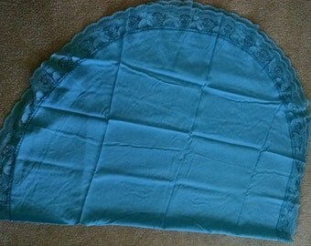 Vintage Sky Blue Oval Tablecloth