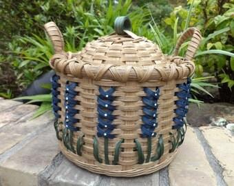 Texas Bluebonnet Round Lidded Basket Handwoven Basket