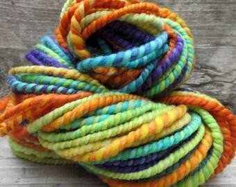 SALE ~ Handspun Yarn, Art Yarn, 2 Ply, Bulky, Wool, Knit, Doll Hair, Fruit Pops