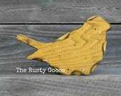 Summer Bird, Wooden Bird, Farmhouse Decor, Cottage Style, Yellow Bird, Mustard Yellow Decor, Primitive Bird, Bird Shelf Sitter, Summer Decor