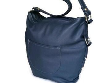 Blue leather purse - hobo bag - handmade shoulder handbag for women sujey