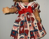 18 Inch American Girl doll School girl sailor style dress in patriotic print by ProjectFunway on Etsy