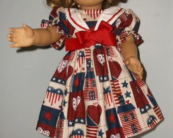 18 Inch doll School girl sailor style 4th ofJuly dress in patriotic print by ProjectFunway on Etsy