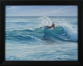 Original 18x24 Surfer Seascape Painting on Canvas by J. Mandrick