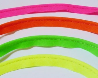 2mm flanged insertion piping on a 9mm band, Neon colours, yellow, green, pink, orange - sold by the metre
