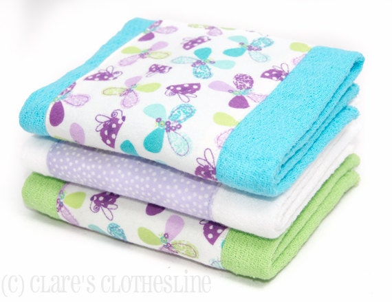 Baby Burp Cloths - Purple, Aqua and Green Butterflies Burp Cloth Set of 3 - READY TO SHIP