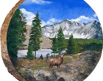 Mountain Camp with Deer - DAE053