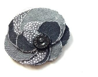 Handmade flower brooch or hair accessory made of denim fabric, bohemian, jeans, shabby, handmade, grey, blue