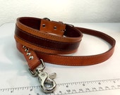 """Vintage Brown Leather Dog Collar with 48"""" Leash Combo"""