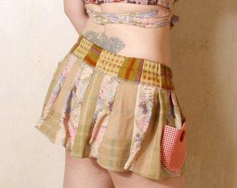 Mini skirt Woman skirt Short skirt Green skirt Woman summer skirt Plaid skirt Gypsy skirt Festival skirt Pixie skirt - Skirt with pockets