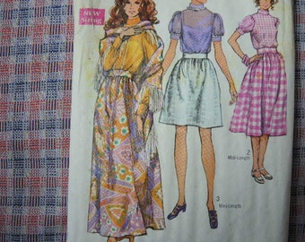vintage 1970s simplicity sewing 8699 skirt in 3 lengths blouse and shawl uncut size 10