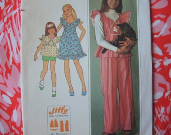 vintage 1970s simplicity sewing pattern 7560 girls size 12 dress or top and pants or shorts uncut