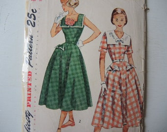 Vintage 1950s Simplicity sewing pattern 3284 Teen age one piece dress size 12