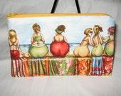BEACH BABES n Beach Castles zipper cosmetic bag/ pouch / wallet
