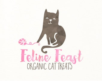 cat logo watercolor animals premade logo - Logo Design #321