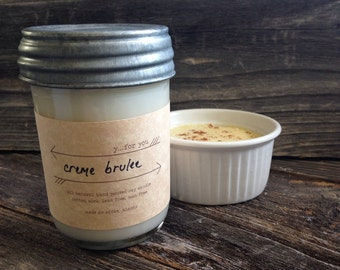 Creme Brulee Scented Soy Candle Soy Container Candle Premium 8oz Mason Jar Soy Candle