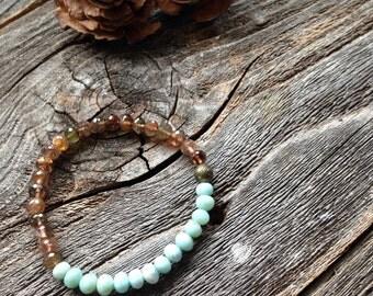 Andalusite and Larimar Friendship Bracelet AAA Gemstone Bracelet Brown and Blue Stretch Bracelet