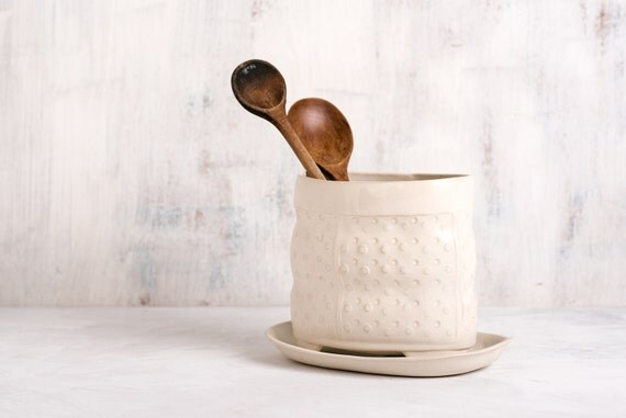 Ceramic kitchen utensil holder , white utensil jar , white modern utensil holder, Kitchen utensil storage , kitchen crock