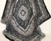 Shades of Grey Soft Textured Crochet Afghan/Lap Rug/Throw