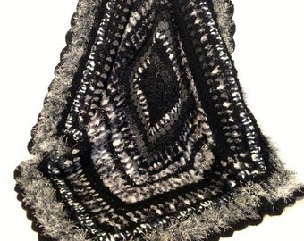 Shades of Black, White and Grey Soft Textured Crochet Afghan (Lap rug/throw)