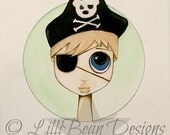 BLONDE Hair blue eyed boy art with an bear pirate hat + patch - a whimsical ORIGINAL painting for a boy by LilliBean Designs FREE shipping