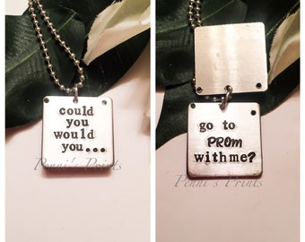 Hand stamped personalized Could You Would You Go To Prom With Me? Prom, prom message, prom gift, prom date, ask to prom, prom invitation
