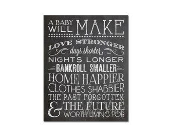 INSTANT DOWNLOAD New Baby- A Baby Will Make... Chalkboard Print