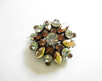 Amber and Yellow Rhinestone Dome Brooch Made in Austria, Set on Black Colored Metal