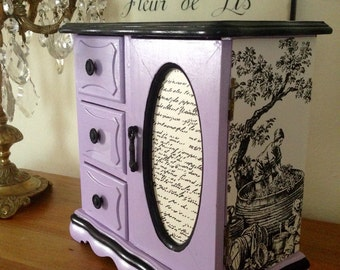 SOLD  Vintage Wood Jewelry Box Hand Painted Lavender & Decoupaged