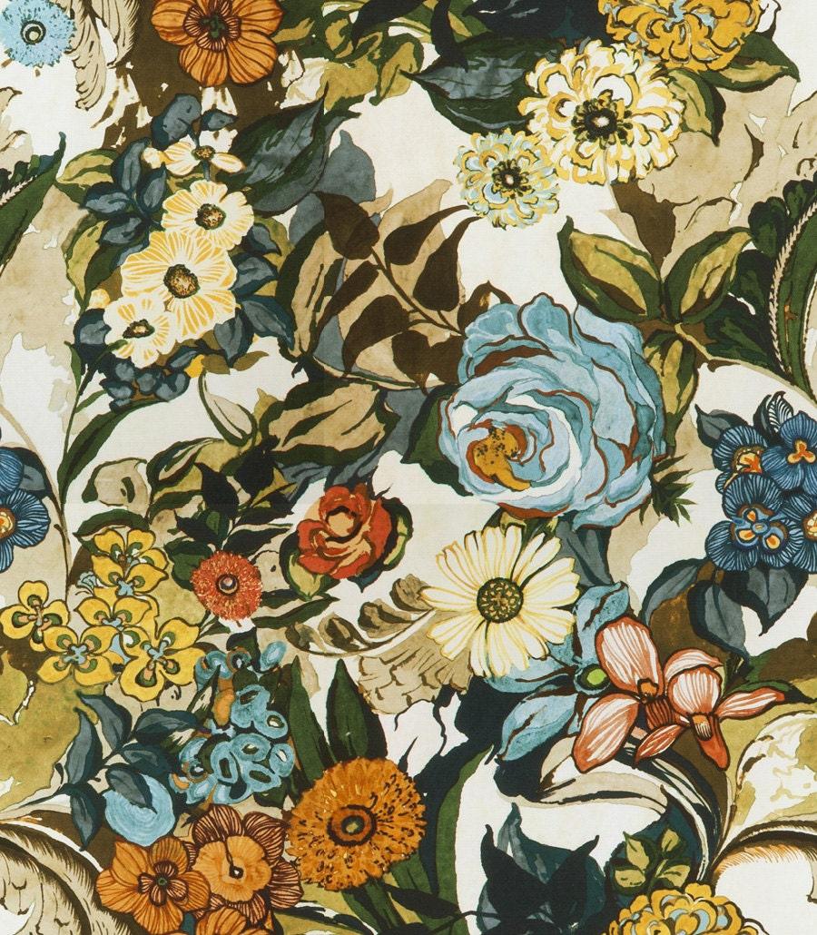 Aqua Blue Orange Fabric Digital Print Upholstery Fabric