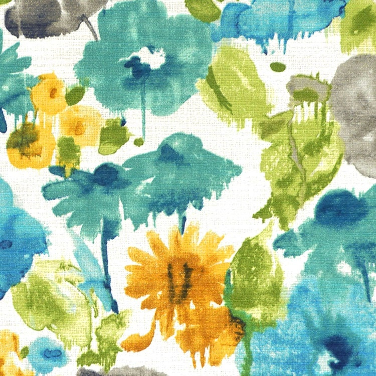 Turquoise Grey Floral Upholstery Fabric Teal Gold Floral